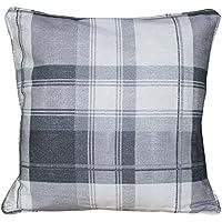 Tony's Textiles Check Tartan Charcoal Silver Grey Cream Cushion Cover Case (Standard)