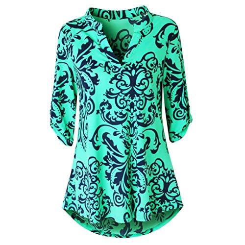 JiaMeng Damen Langarm Floral Bedruckte Roll Up Top Casual Button Layered Blusen