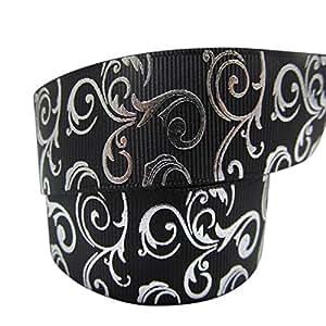 Nastro grosgrain per torte di compleanno, natale, matrimonio, pacchi regalo e decorazioni, misure: 2 m x 22 mm, motivo: vigneto, colore: nero e argento