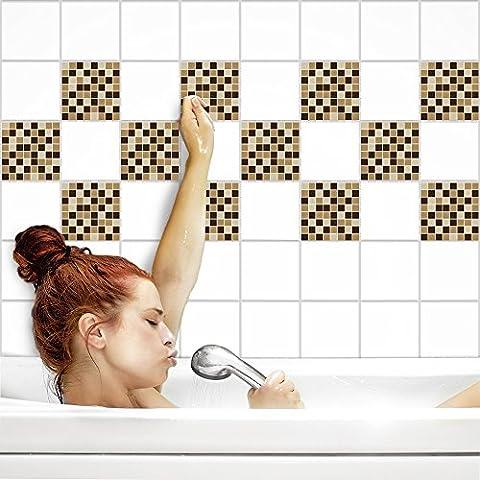 Fliesenaufkleber für Küche und Bad | Fliesenfolie für 20x25cm Fliesen | Mosaik Erde matt | 8 Stück | Klebefliesen günstig in 1A Qualität von PrintYourHome