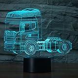 3D-Nachtlicht für LKW mit 7 Farbwechseln, LED-Touchscreen, USB, Tischdekoration, Weihnachts- und Valentinstagsgeschenk