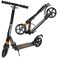 Apollo XXL Wheel Scooter 200 mm - Spectre Pro Naranja es un City Scooter de Lujo con suspensión Doble, City Roller XXL Plegable y Ajustable en Altura, Grande Kick+B3 Scooter para Adultos y niños