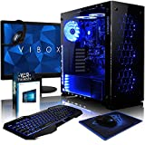 VIBOX Nebula GSR550T-57 Komplett-PC Paket Gaming PC - 3,7GHz AMD Ryzen Quad-Core CPU, GTX 1050 Ti GPU, Super, Desktop Gamer Computer mit 3x Free Games (Destiny 2 & Call of Duty), 22' HD Monitor, Gamer Tastatur & Mouse, Windows 10, Blau Innenbeleuchtung, lebenslange Garantie* (3,5GHz (3,7GHz Turbo) AMD Ryzen 3-1300X Quad 4-Core Prozessor CPU, Nvidia GeForce GTX 1050 Ti 4GB Grafikkarte GPU, 16GB DDR4 2133MHz RAM, 1TB HDD Festplatte, 85+ Netzteil, Gamemax Gehäuse, Asus AM4 Mainboard)