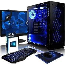 VIBOX Nebula GS530-55 Paquet Gaming PC - 3,5GHz Intel i5 Quad Core CPU, GPUGT730, Presupuesto, Ordenador de sobremesa para oficina Gaming vale de juego, con monitor, Windows10, Iluminaciàninterna azul (3,0GHz (3,5GHz Turbo) SuperrápidoInteli5 7400Quad 4-CoreCPUprocesador de Kabylake, Tarjeta gráficadedicada de 2GBNvidia GeforceGT730GPU, 8 GB 2133MHzDDR4RAM, Unidad de estadosàlidoSSD de 240GB, Discoduro1TB, 85+ PSU400W, Gamemax Caja)