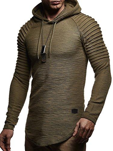 Leif Nelson Herren Kapuzenpullover Slim Fit Baumwolle-Anteil Moderner weißer Herren Hoodie-Sweatshirt-Pulli Langarm Herren schwarzer Pullover-Shirt mit Kapuze LN8128 Khaki X-Large