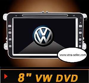 Autoradio 8 pouces HD GPS DIVX DVD MP3 USB SD TV RDS Bluetooth IPOD avec CAN BUS pour Volkswagen Jetta Golf V VI Passat Eos Tiguan Caddy Scirocco et Touran