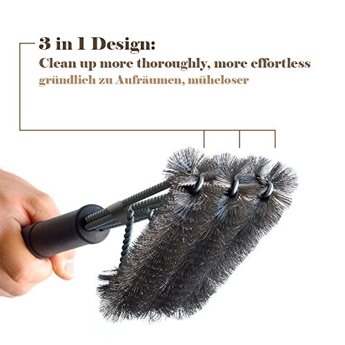 IREGRO BBQ Grill Brush 3 in 1, 360°Cleaning PP Heat Insulation Handle, Cleaner Cooking Grates Racks and Burners