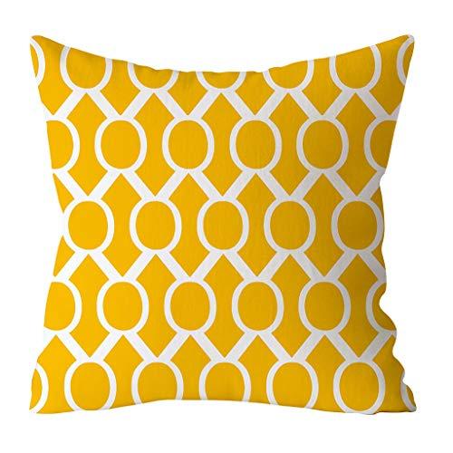 Cojín estampado amarillo cuadrado de 45x45 cm.
