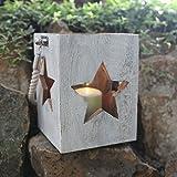 Holzlaterne mit Seilgriff H 23,5cm Deko Laterne Kerzenhalter Kerzenständer Lampe, Variante:Stern weiß