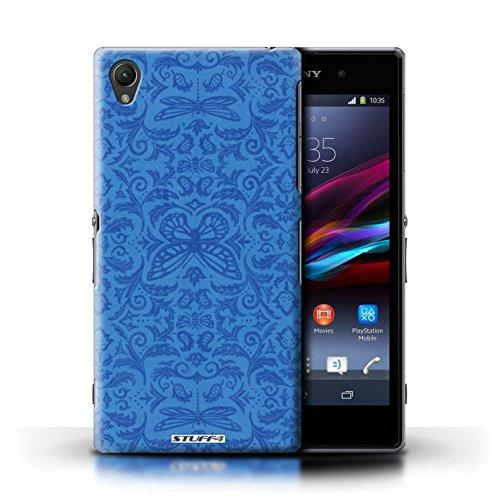 Kobalt® Imprimé Etui / Coque pour Sony Xperia Z1 / Jaune conception / Série Motif médaillon Bleu