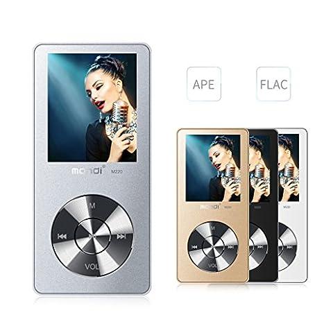 Mymahdi 8 Go MP3 Portable (extensible jusqu'à 128 Go), de musique/une touche de Enregistreur vocal/radio FM 70 heures de avec haut-parleur externe HD, Argent