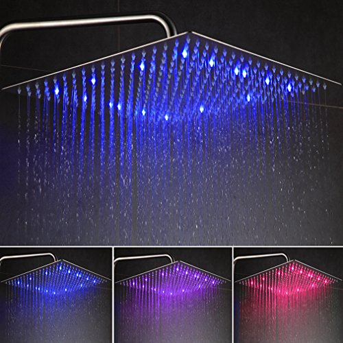 Auralum 16 Zoll LED Duschkopf Regenbrause Kopfbrause Regendusche Ultra flach Spiegeleffekt hochglänzend
