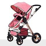 Unbekannt ZCJB Kinderwagen Baby-Pushchair/Two-Way Kann sitzen Ultra-Light Falten Falten Vier-Wheeled Baby Trolley Champagner Gold Farbe Baby Trolley Kind (Farbe : Pink)