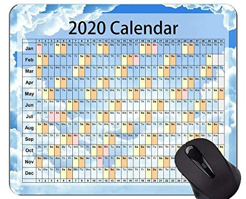 Yanteng Tappetino per Mouse da Gioco Calendario 2020 Anni Tappetino per Mouse Personalizzato, Bellissimo Cielo a Tema per Ufficio