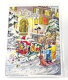 Adventskalender A4- Weihnachtsmann im Schlitten vorm Haus