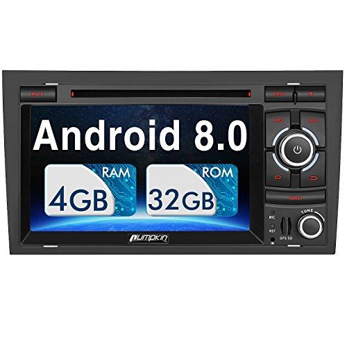 Pumpkin Android 8.0 Autoradio Moniceiver für Audi A4 mit Navi Unterstützt Bluetooth DAB + USB CD DVD WLAN 4G Android Auto MicroSD Doppel Din 7 Zoll Bildschirm