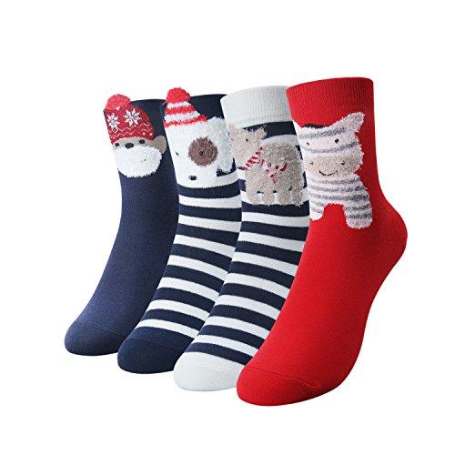 Damen Tier Weiche Baumwoll Socken Geschenk Box (4 Paar)