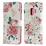 Handytasche für Samsung Galaxy S9, ZCRO PU Leder Schutzhülle Brieftasche Hülle Magnet Etui Flip Case 3D Bunt Muster Wallet Cover Leder Tasche Case Handyhülle mit Kartenfach Trageschlaufe Standfunktion Handy Hüllen für Samsung Galaxy S9 (Rosa Pink Blumen)