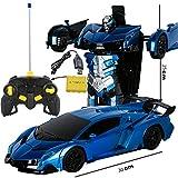 BZ Un Bouton déformation télécommande Voiture télécommande déformation Robot King Kong Geste Induction déformation Jouet Voiture,Blue Rambo,25 * 30