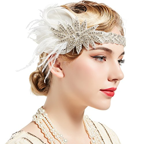 Flapper 1920er Art Jahre Kostüm Deco - ArtiDeco 1920s Feder Stirnband 20er Jahre Stil Art Deco Flapper Haarband Great Gatsby Stirnband Damen Kostüm Accessoires (Feder mit Satin Band)