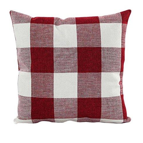 Baumwolle Streifen-kissen-sham (Sky & # x2764; & # x2764; Eindruck celosía45cm * 45cmfunda Schutzhülle für Matratze Bett des Haus Mischung aus Leinen 45cm *45cm rot)