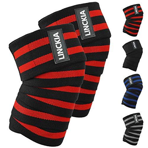 LINCKIA Kniebandage Knee Wraps Knieschoner Knieschützer - 200cm Profi Bandage Knie Elastische 85% natürliche Baumwolle verstellbare Kompression für Fitness, Powerlifting, Crossfit, Bodybuilding - Bodybuilding-knee Wraps