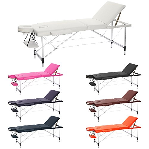 h-root 3 Abschnitt Ultralight tragbar Massageliege Schlafcouch Sockel, Therapie Tatoo Salon Reiki Healing Schwedische Massage 12,75 kg (186cm x 60cm x 59-80cm, Sahne)
