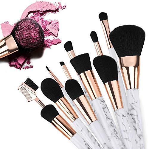 Pinceaux de maquillage 12 pièces Start Makers Pinceaux cosmétiques en marbre Professional Fusion Fusion Synthétique Correcteur Visage Liquide Poudre Liquide Crème