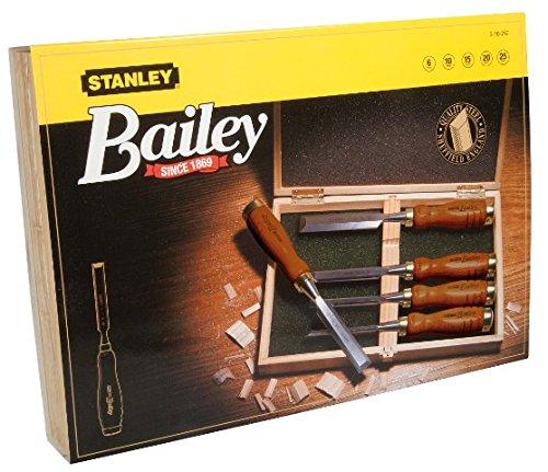 Preisvergleich Produktbild Stanley Bailey Stechbeitel Set 5-teilig (6/10/15/20/25 mm Beitelbreite, gehärteter Stahl, Kunststoffkappe) 2-16-217