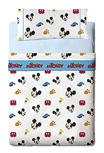 GAMANATURA Parure de Draps 3 PIECES Mickey Mouse Disney Colors (Drap Housse + Drap Plat + Taie d'Oreille) pour lit 90 cms.