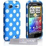 Yousave Accessories HTC Sensation / Sensation XE Stilvoll Punkte Silikon Gel Gemustert Schutzhülle Mit Displayschutz Film Blau Weiß Punkte