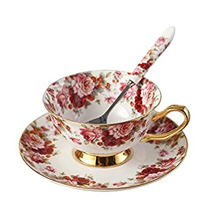 TouchLife Bone China Tea Cup Coffee Cup Set with Saucer and Spoon,Small Floral,White and Red,With Gift Box