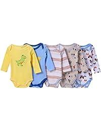 BOZEVON pack con 5 unidades Recién nacido Bebé Largo/corto/sin Mangas Romper escalada manga 100% algodón Niños Niñas Mono Body para Bebé Oniesies