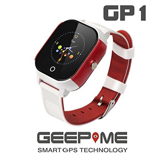 GeepMe GP1 Smartwatch (weiß-rot) - GPS Kinderuhr, wasserdicht(IP67),Tracking, Geofence, SOS Notruf, Telefon, dt. kostenlose APP/dt. Service, Sicherheit für Ihre Kinder, (OHNE Abhörfunktion) Gp1 Gps