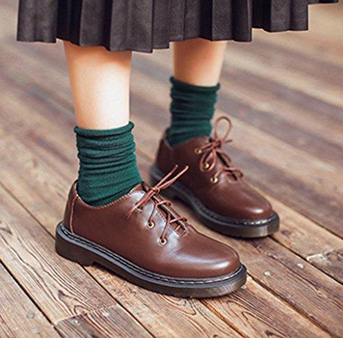 Damen Schnürhalbschuhe Rundzehen Gummi Sohle Anti-Rutsche Tragen Atmungsaktiv Freizeitschuhe Niedrige Bequeme Schuhe Braun