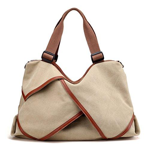 Nclon Neu Damen handtaschen Canvas canvas Umhängetasche Schulter taschen messenger Grosse tasche Vintage Schultertasche Handtasche Damen henkeltasche-Grau Khaki