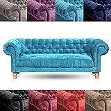 Design Sofa New Chesterfield Samt 3ER   Samtbezug, 215x76x97cm, Hellblau   Dreisitzer