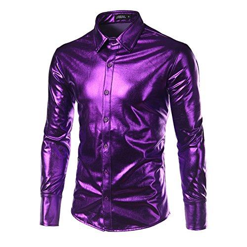 Zhien Disco Dance Tops Clubwear Cosplay Moda Uomo Bling Lucido Slim Maniche Lunghe T-Shirt Button Down Tee Shirt Purple 2XL