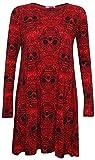 Vestido rojo con diseño de calavera, vestido acampanado para mujer, Reino Unido 8-26 rojo RED SKULL Talla única