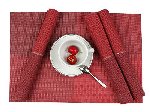 Sets de Table Rouge Famibay PVC Sets de Table Lavable Lot de 4 Rectangulaires Antiderapant Sets de Table Plastique