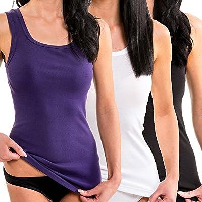 HERMKO 1325 3er Pack Damen Longshirt für drüber und drunter aus 100% Baumwolle Tank Top