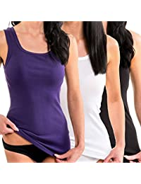 HERMKO 1325 Kit de tres camisas interiores para mujer de diferentes colores, hechas de algodón 100% tank top en talla grande