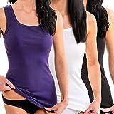 HERMKO 1325 3er Pack Damen Longshirt ideal für drüber und drunter (Weitere Farben), Größe:44/46 (L), Farbe:Mix s/w/l