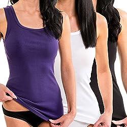 Damen Longshirt von HERMKOHERMKO 1325 3er Pack Damen Longshirt in Trend-Farben aus 100% Baumwolle, Tank Top auch in Übergrößen, längeres Shirt für drüber und drunter mit normalem Rücken.3 Stück Sortiment s/w/l: 1 x weiß, 1 x schwarz, 1 x lilaSortim...