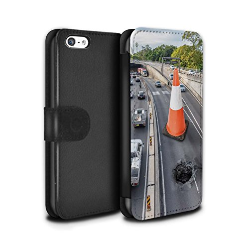 Stuff4 Coque/Etui/Housse Cuir PU Case/Cover pour Apple iPhone 5C / Voyage Par La Route Design / Vers Bas Sous Collection Travaux Routiers