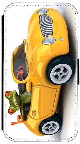 Flip Cover für Apple iPhone 5 5s Design 636 Giraffe mit Rollschuhen lustig funny Cartoon Animiert Rot Braun Hülle aus Kunst-Leder Handytasche Etui Schutzhülle Case Wallet Buchflip (636) 631