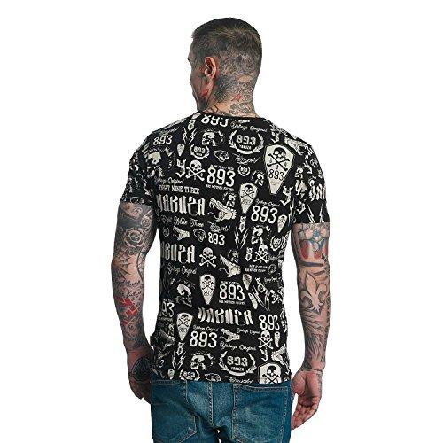 Yakuza Original Herren Allover Label T-Shirt Schwarz
