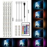 Simpome LED TV USB Backlight Light Kit , 5050 SMD 120LEDs, 5V 16 Color Changing Strip Light for HDTV TV Monitor Decoration, (4X50CM)