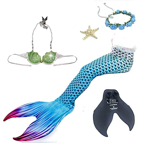 Mädchen Meerjungfrau Schwanz Bademode Cosplay Kostüm Badebekleidung Meerjungfrau Shell Badeanzug 5 Stück Set Bikini Sets für Erwachsene Frau,Tolle Geschenksidee !