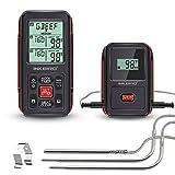 Inkbird IRF-2S Remote Wireless Smoker Fleischthermometer Funk Thermometer mit Temperaturfühlern für Kochen von BBQ,Ofen,Raucher,Grills bis zu 300M (IRF-2S+3 Temperaturfühler, Orange)